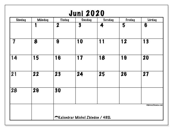 Kalender juni 2020, 48SL. Gratis utskrivbara kalender.