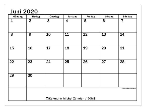 Kalender juni 2020, 50MS. Kalender för att skriva ut gratis.