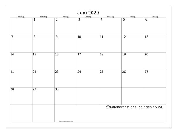 Kalender juni 2020, 53SL. Kalender för att skriva ut gratis.