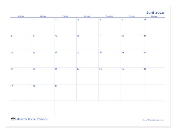 Kalender juni 2020, 55SL. Schema för att skriva ut gratis.