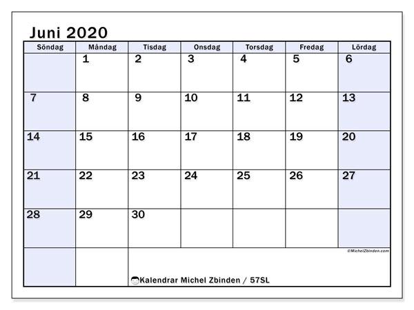 Kalender juni 2020, 57SL. Almanak för att skriva ut gratis.