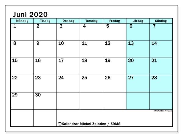 Kalender juni 2020, 59MS. Kalender för gratis utskrift.