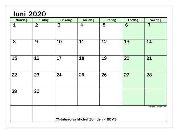 Kalender juni 2020, 60MS. Kalender för gratis utskrift.