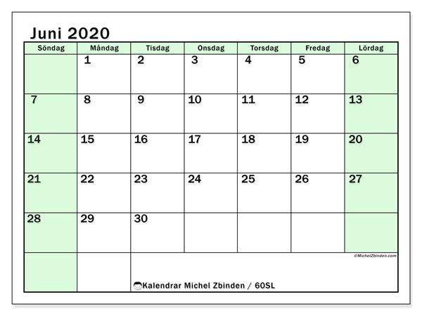 Kalender juni 2020, 60SL. Schema för att skriva ut gratis.