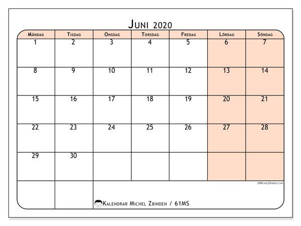 Kalender juni 2020, 61MS. Gratis utskrivbara kalender.