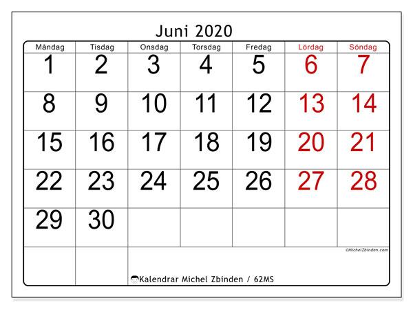 Kalender juni 2020, 62MS. Almanak för att skriva ut gratis.