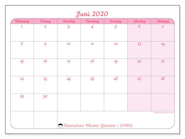 Kalender juni 2020, 63MS. Månadskalender för att skriva ut gratis.