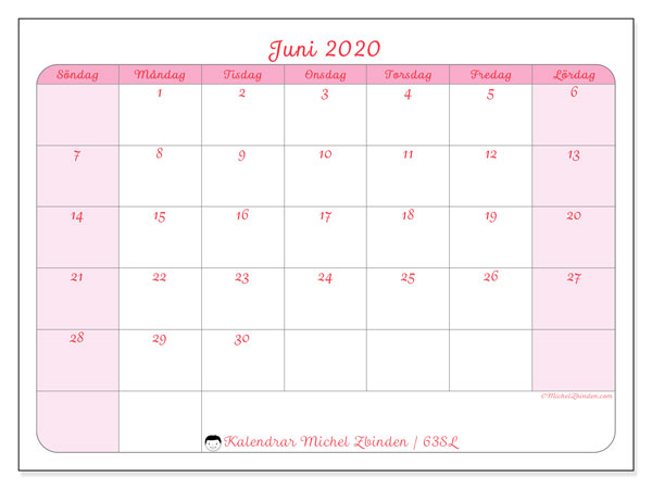 Kalender juni 2020, 63SL. Månadskalender för att skriva ut gratis.