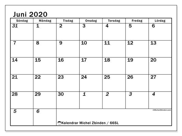 Kalender juni 2020, 66SL. Gratis kalender att skriva ut.
