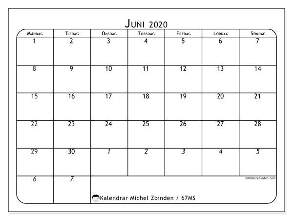 Kalender juni 2020, 67MS. Schema för att skriva ut gratis.