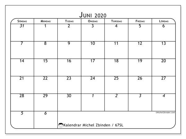 Kalender juni 2020, 67SL. Kalender för att skriva ut gratis.