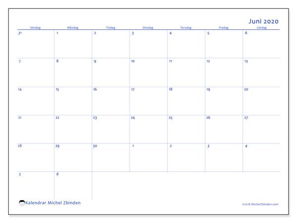 Kalender juni 2020, 73SL. Gratis utskrivbara kalender.