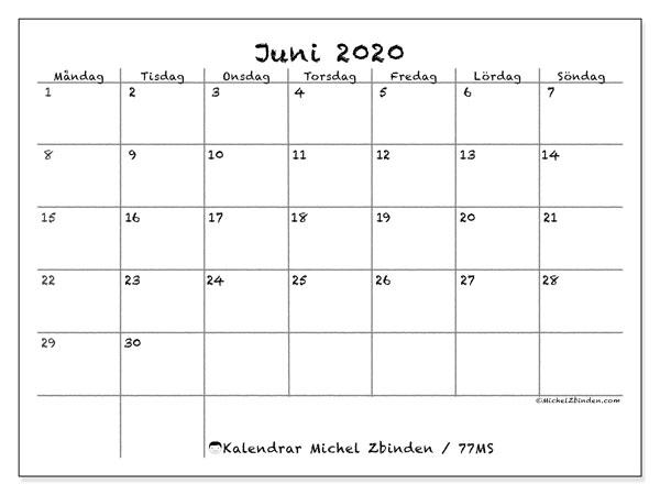 Kalender juni 2020, 77MS. Almanak för att skriva ut gratis.