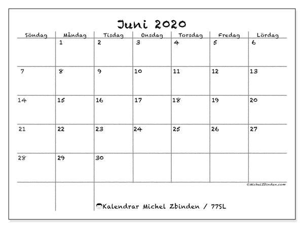 Kalender juni 2020, 77SL. Kalender för att skriva ut gratis.
