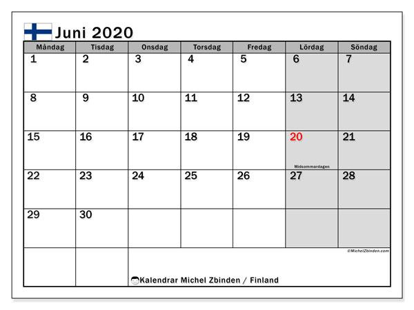 Kalender juni 2020, med semester i Finland. Kalender för gratis utskrift med helgdagar.