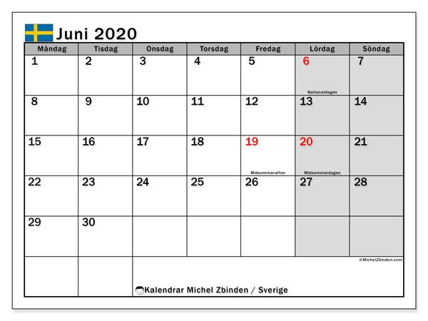 Kalender juni 2020, med helgdagar i sverige. Kalender för gratis utskrift.