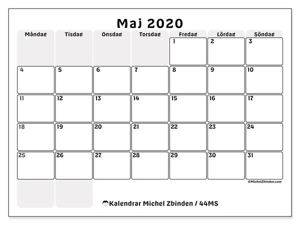Kalender maj 2020, 44MS. Månadskalender för att skriva ut gratis.