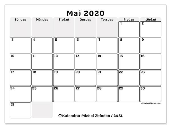 Kalender maj 2020, 44SL. Almanak för att skriva ut gratis.