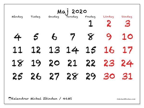 Kalender maj 2020, 46MS. Schema för att skriva ut gratis.
