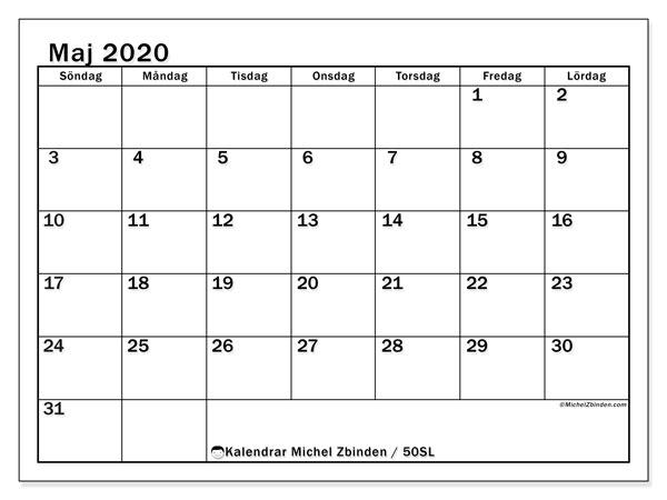 Kalender maj 2020, 50SL. Almanak för att skriva ut gratis.