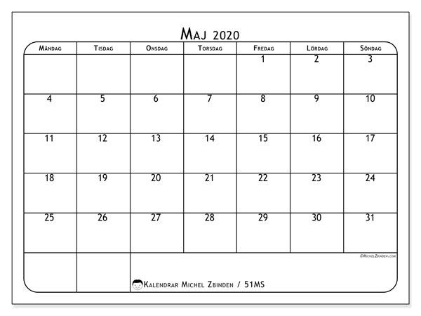 Kalender maj 2020, 51MS. Månadskalender för att skriva ut gratis.