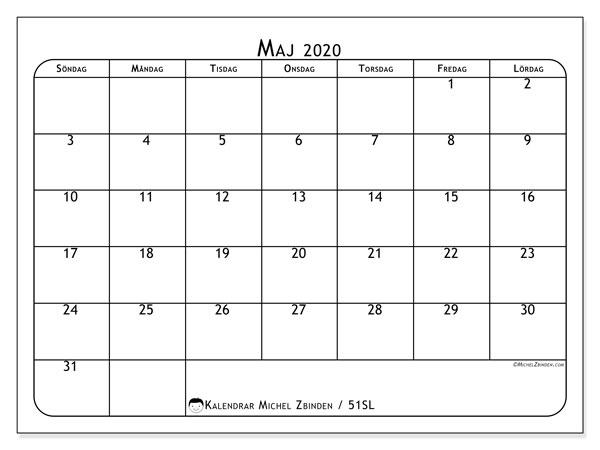 Kalender maj 2020, 51SL. Kalender för året att skriva ut gratis.