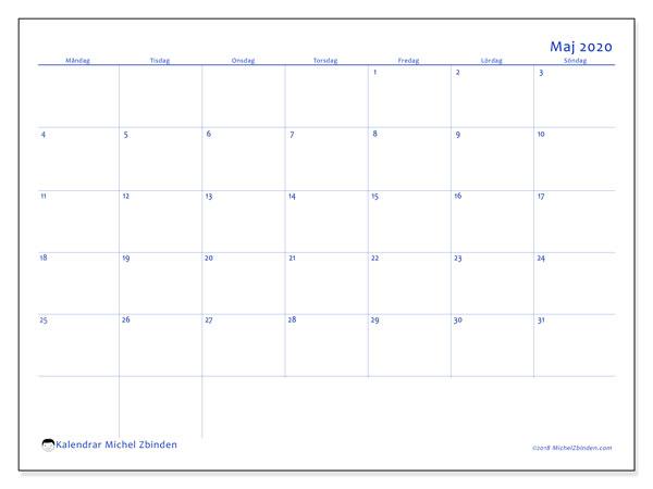 Kalender maj 2020, 55MS. Månadskalender för att skriva ut gratis.