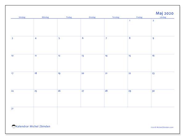 Kalender maj 2020, 55SL. Almanak för att skriva ut gratis.