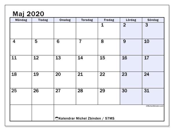Kalender maj 2020, 57MS. Almanak för att skriva ut gratis.