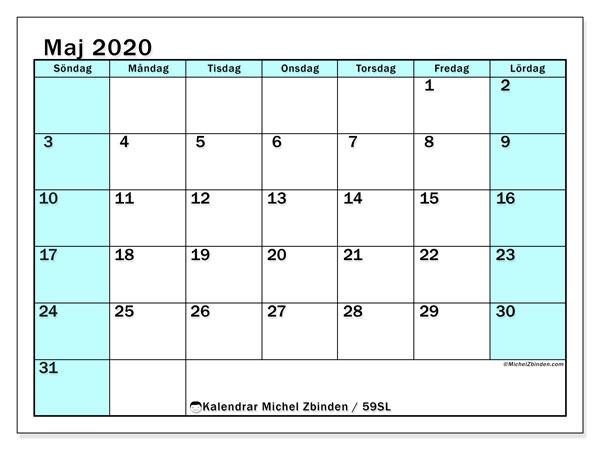 Kalender maj 2020, 59SL. Almanak för att skriva ut gratis.