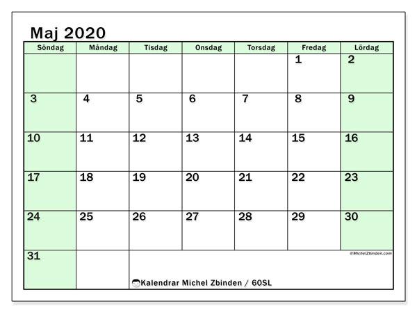 Kalender maj 2020, 60SL. Kalender för att skriva ut gratis.