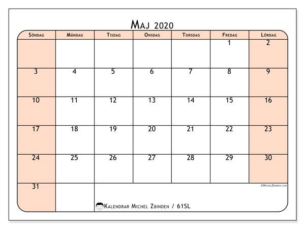 Kalender maj 2020, 61SL. Gratis utskrivbara kalender.