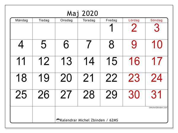 Kalender maj 2020, 62MS. Kalender för gratis utskrift.
