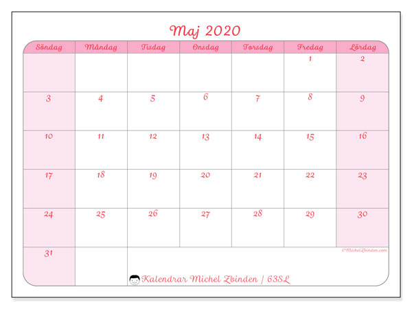 Kalender maj 2020, 63SL. Almanak för att skriva ut gratis.