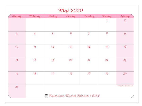 Kalender maj 2020, 63SL. Gratis utskrivbara kalender.