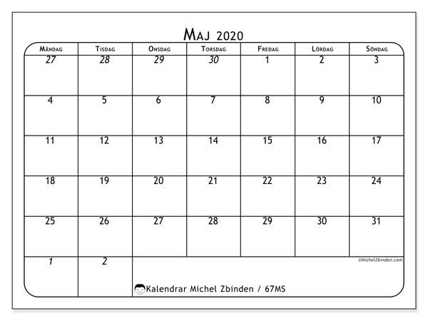 Kalender maj 2020, 67MS. Gratis kalender att skriva ut.