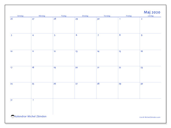 Kalender maj 2020, 73SL. Gratis kalender att skriva ut.