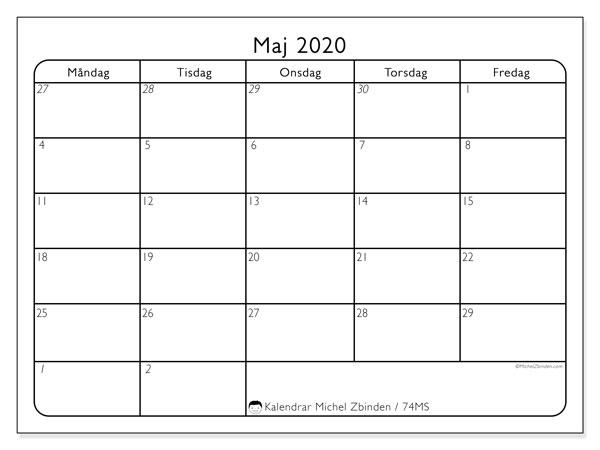 Kalender maj 2020, 74MS. Schema för att skriva ut gratis.