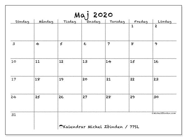 Kalender maj 2020, 77SL. Gratis kalender att skriva ut.