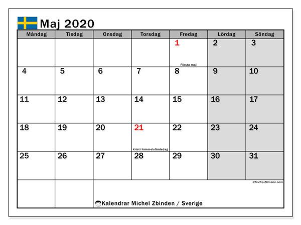 Kalender maj 2020, med semester i Sverige. Kalender Semester att skriva ut gratis.