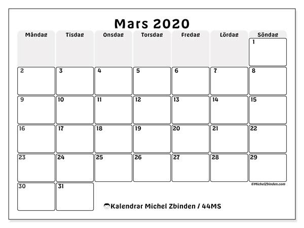 Kalender mars 2020, 44MS. Kalender för gratis utskrift.