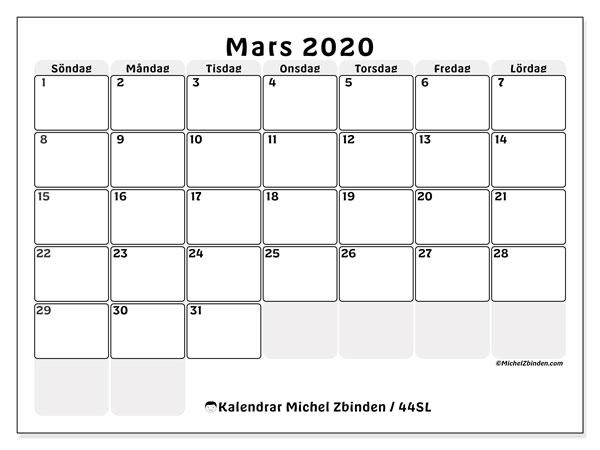 Kalender mars 2020, 44SL. Gratis utskrivbara kalender.
