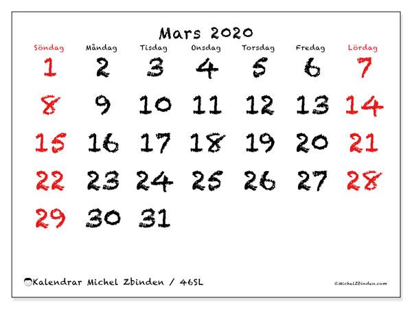 Kalender mars 2020, 46SL. Gratis utskrivbara kalender.