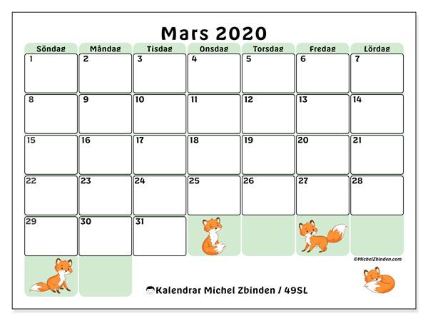 Kalender mars 2020, 49SL. Schema för att skriva ut gratis.