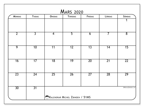 Kalender mars 2020, 51MS. Schema för att skriva ut gratis.
