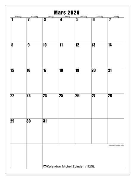 Kalender mars 2020, 52SL. Kalender för året att skriva ut gratis.