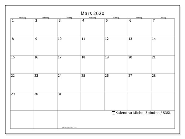 Kalender mars 2020, 53SL. Månadskalender för att skriva ut gratis.
