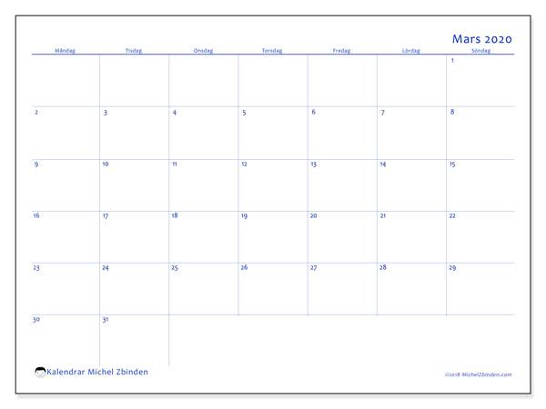 Kalender mars 2020, 55MS. Almanak för att skriva ut gratis.