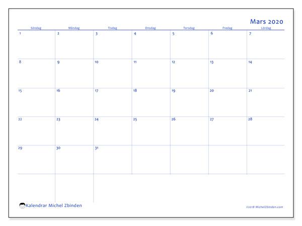 Kalender mars 2020, 55SL. Kalender för gratis utskrift.