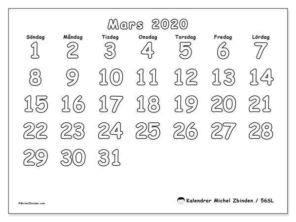 Kalender mars 2020, 56SL. Månadskalender för att skriva ut gratis.